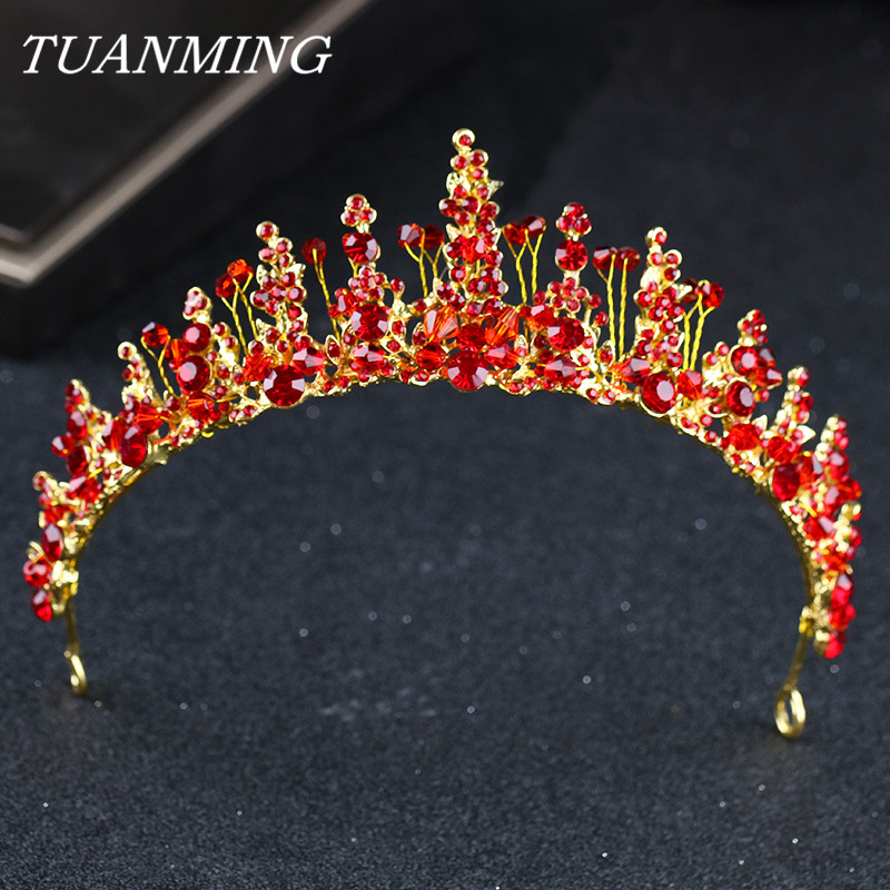 Vintage Gold Hair Jewelry Red Crystal Rhinestone Tiaras And Crowns For Wedding Women Bride Handmade Hair Accessories Pageant