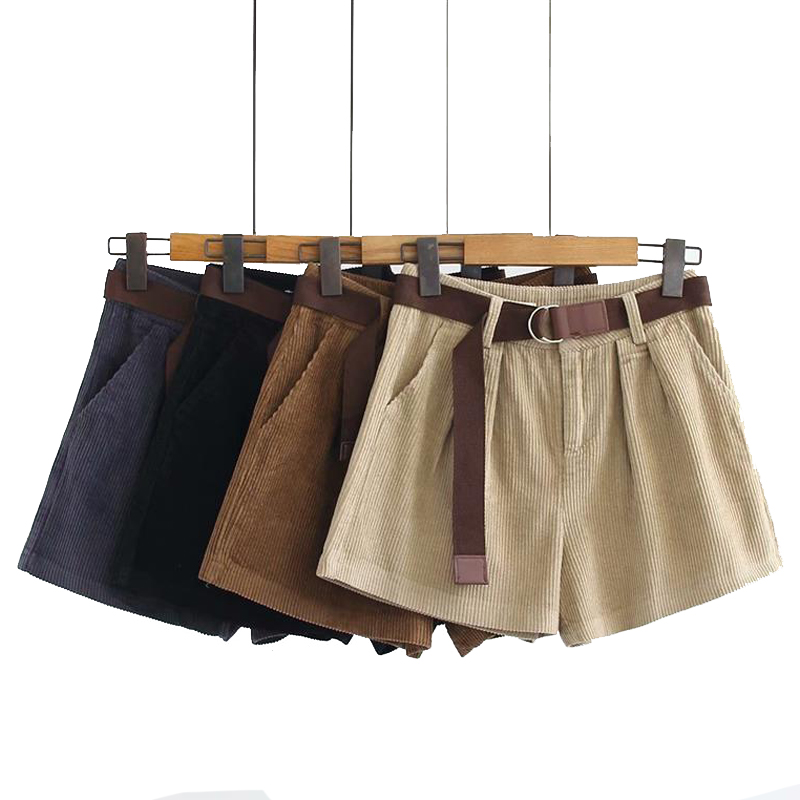 Autumn and Winter Vintage Corduroy   Shorts   Solid Color High Waist Leisure Bermuda   Shorts   Adjustable Belt