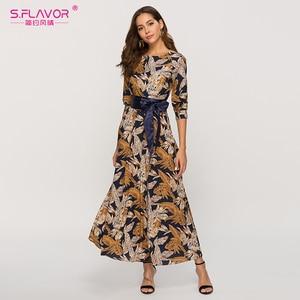 Image 1 - S.風味の女性の古典的なレトロカジュアルロングドレス 2020 夏のファッションランタンスリーブ o ネックドレス女性のための vestidos
