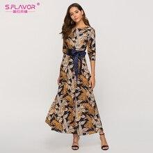 S.FLAVOR 여성 클래식 레트로 캐주얼 롱 드레스 2020 여름 패션 랜턴 슬리브 o 목 Boho 드레스 여성 Vestidos