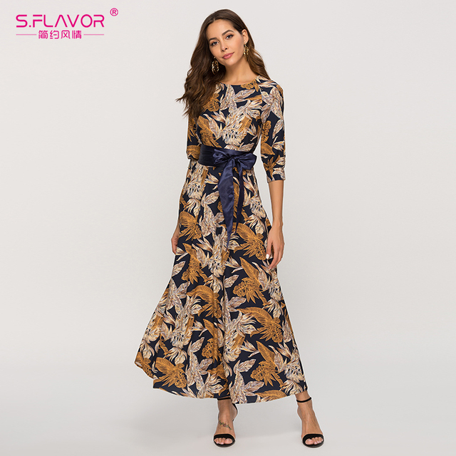 S. Smaak Vrouwen Klassieke Retro Toevallige Lange Jurk 2020 Zomer Mode Lantaarn Mouw O hals Boho Jurk Voor Vrouwelijke Vestidos