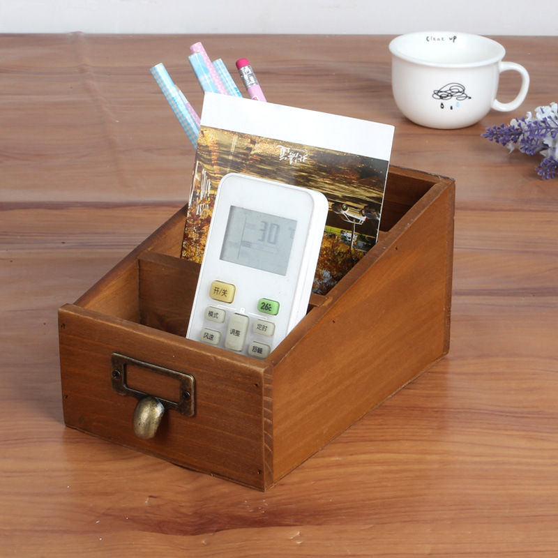 Retro Old Wooden Storage Box 3 Grid Remote Control Succulents Plant Storage Box Office Pen Holder Creative Desktop Figurine Gift