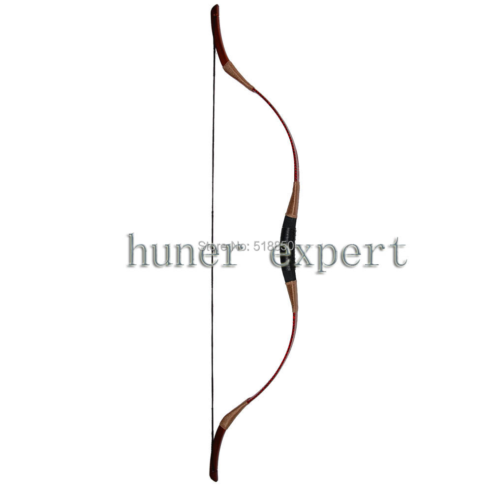 A red snakeskin recurve bow 35lbs LH or RH short 48'' archery hunting horsebow compatible for fiberglass arrow 1 piece hotsale black snakeskin wooden recurve bow 45lbs archery hunting bow
