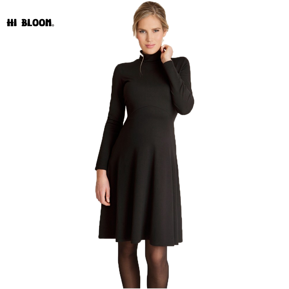 9093679e8a5 Winter Maternity Dresses Long Sleeve O-Neck Dress for Pregnant Women Elegant  Evening Party Pregnancy. sku  32914276774