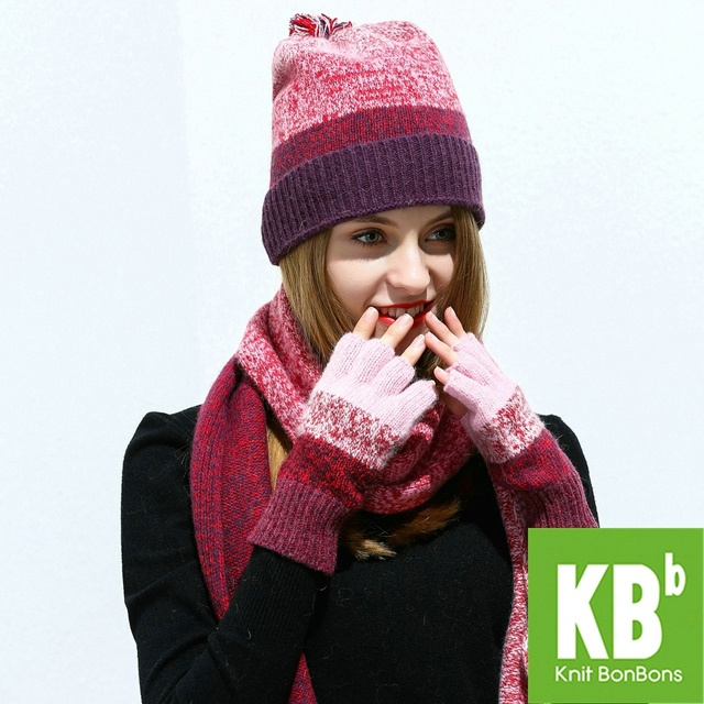 ade4f681bf0 2018 KBB Women Scarf Hat Set Red Knitted Wool Lambswool Female Women s  Scarves Tippet Gloves With