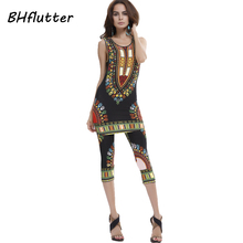 BHflutter 2018 Women Set Casual 2 pieces Top and Pants New Fashion Women's Summer Clothing Africa Pattern Vintage Print Sets