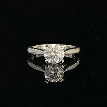 925 סטרלינג כסף טבעת 1ct 2ct 3ct יוקרה יהלומי תכשיטי Moissanite טבעת שורה אחת תרגיל חתונה מסיבת יום נישואים טבעת