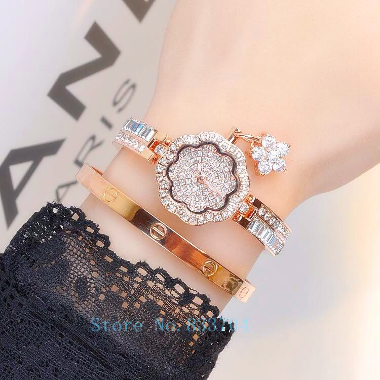Us 19 49 68 Off Luxury Women Watches Las Diamond Bracelet Watch Female Rose Gold Silver Dress Lady Rhinestone Bangle Jewelry Wrisch In