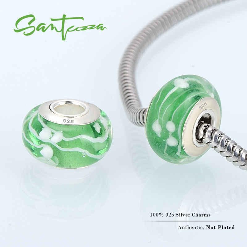 Kaca Murano Beads Pesona Cocok untuk Gelang DIY Membuat 100% Asli 925 Sterling Silver Perhiasan Wanita