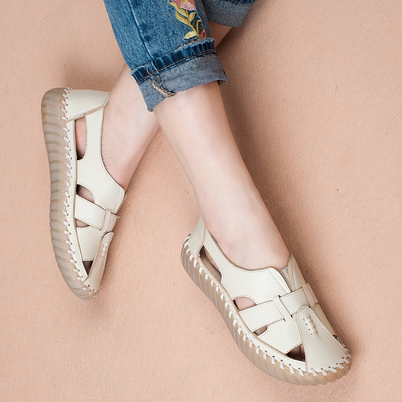 women summer shoes soft leather comfort sandals women female handmade 2018 fshion flat women sandals big size 35-43 A568 4