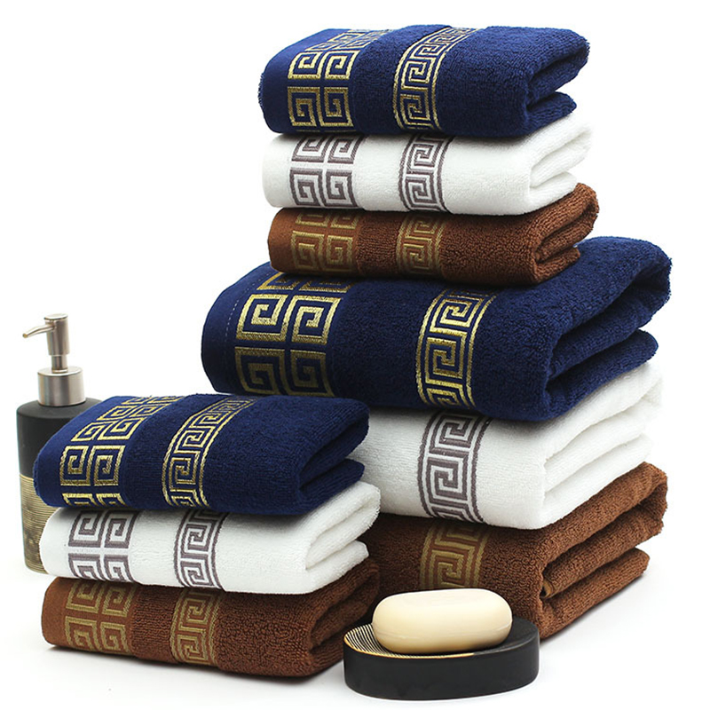3 PCS Cotton Embroidered Towel Sets Bamboo Beach Bath Towels for Adults  Luxury Brand High Quality