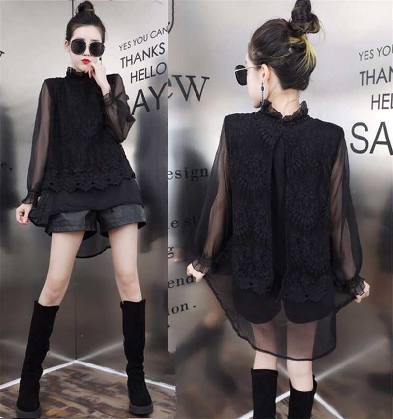 Lace Blouse Plus Size 2XL Women Autumn New Fashion Irregular Chiffon Shirts Korean Style Loose Sweet Black Bottoming Shirts Tops