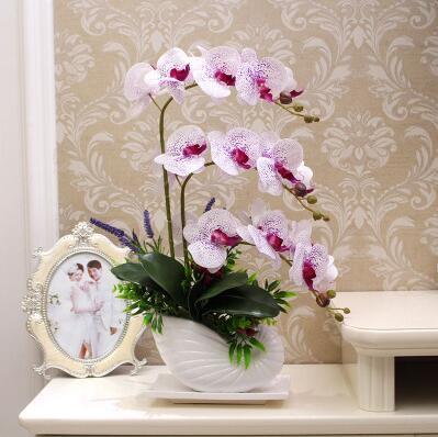 Pu simulation de Phalaenopsis fleur sensation costume floral décoration chambre soie colle pot