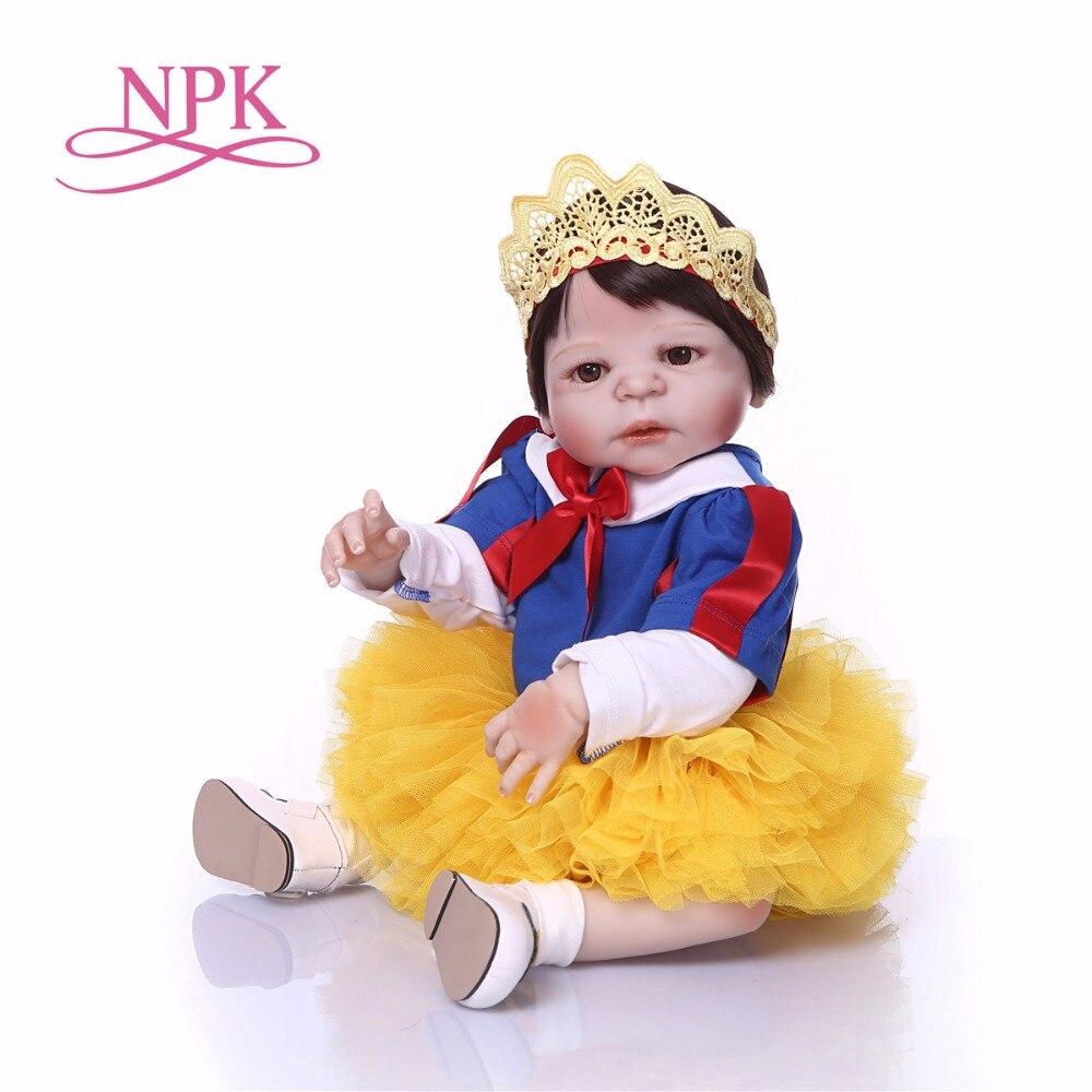 NPK 57 CM Boneca bebes Reborn poupée blanche neige pleine vinyle Reborn bébé poupée jouets réaliste enfant anniversaire cadeau de noël jouet chaud pour fille