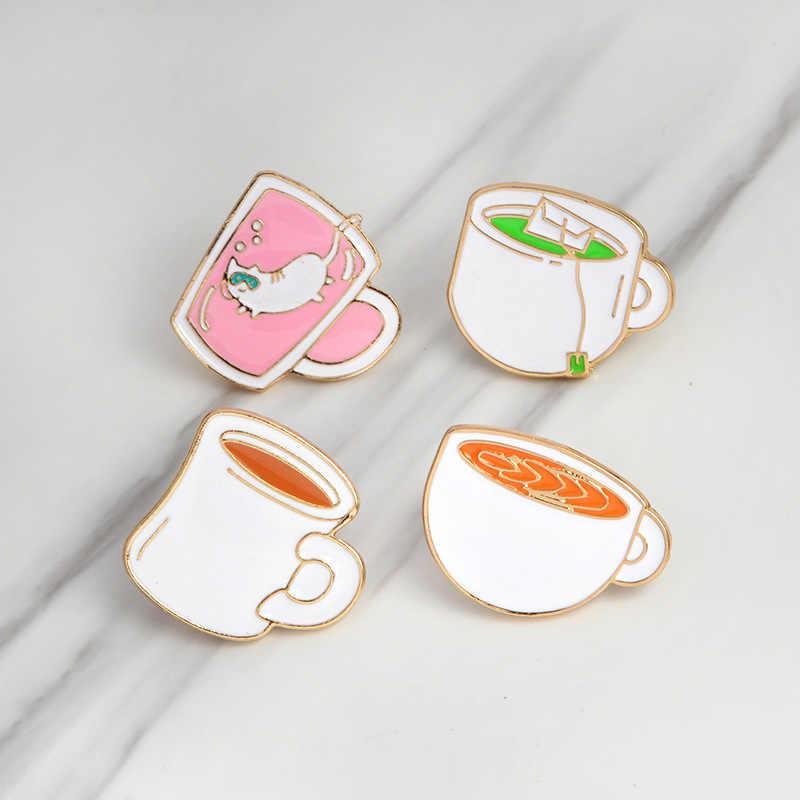 Kartun Lucu Putih Cangkir Kopi Cangkir Teh Pink Cat Air Piala Logam Enamel Bros Pakaian Ransel Kepribadian Pesona Perhiasan Hadiah