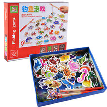 32PCS Magnet Wooden 3D Fishing Toys Set Wood Magnetic Fish Game Children Educational Cartoon Undersea Toy Baby Birthday Gifts(China)