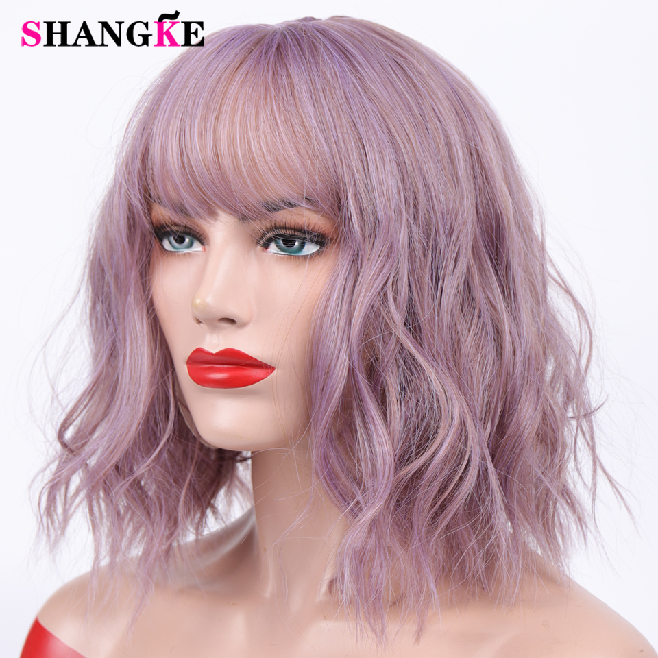 Short Mix Purple Womens Wigs With Bangs Heat Resistant Synthetic Kinky Curly Wigs For Women African American
