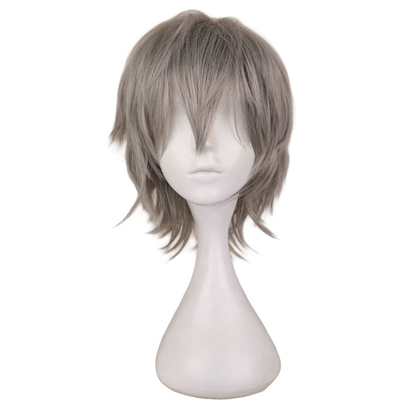 QQXCAIW Men Short Grey Sliver Gray Cos Cosplay Wig Party 30 Cm 100% High Temperature Fiber Synthetic Hair Wigs