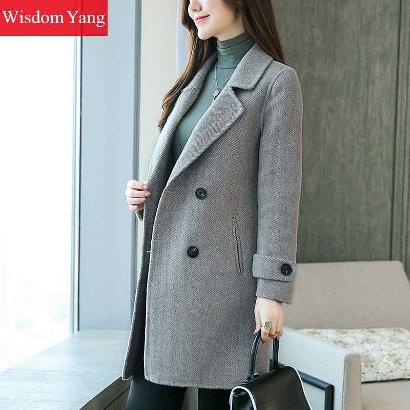 エレガントなグレーピンク女性のコートの冬暖かい女性 Xlong オーバーボタンウール女性オフィスコートオフィスレディルース上着