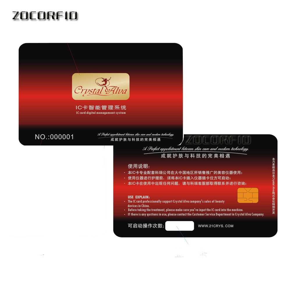 500pcs/lot Printing Custom Blank PVC SLE-4442 IC Card/ISO7816-3 SiM Contact Card / SLE4442 Smart Card