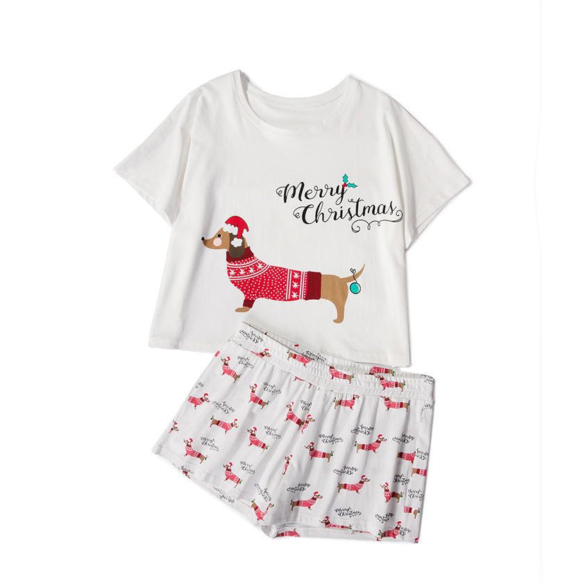 Christmas Women Pajama Sets Home Wear Short Sleeve Top Shorts 2 Pieces Set Loose Elastic Waist Pijama Mujer S78401 P