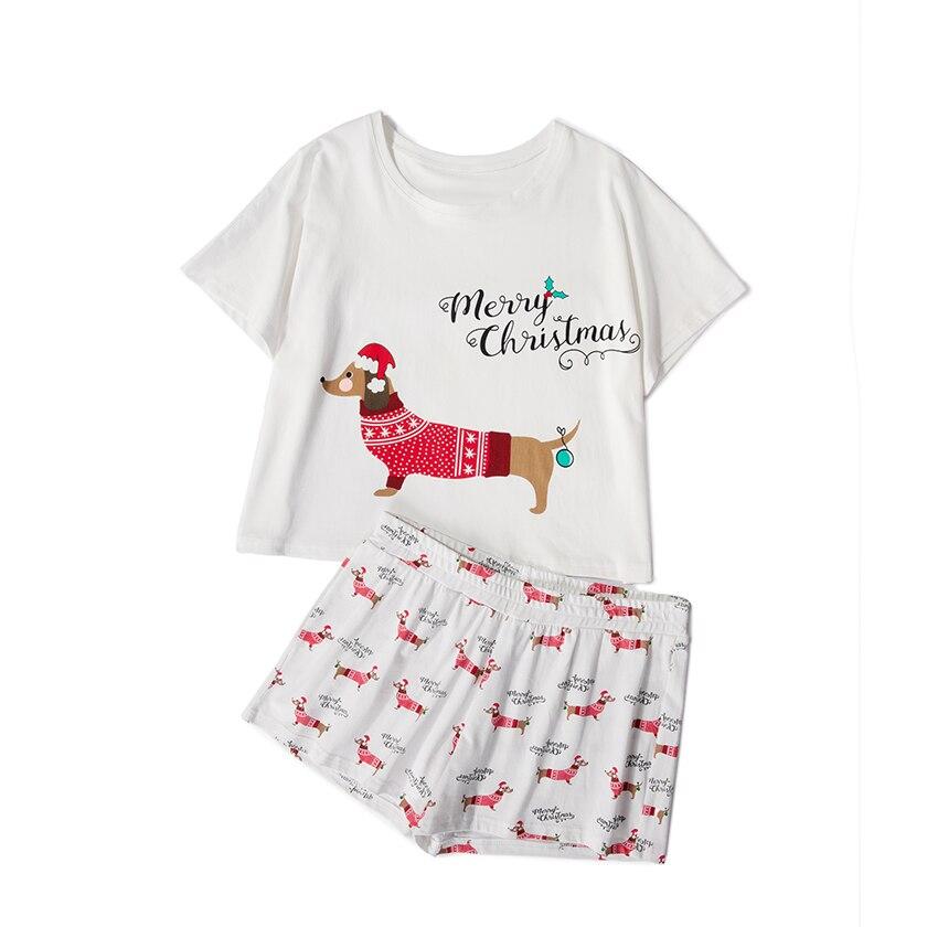 Weihnachten 2018 Frauen Pyjama Sets Home Tragen Kurzarm Top Shorts 2 stücke Set Lose Elastische Taille Pijama mujer S78401 P