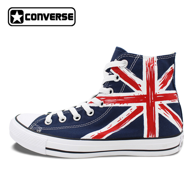 1D One Direction UK Flag Blue Converse Chuck Taylor Women Men Shoes Design  Hand Painted High