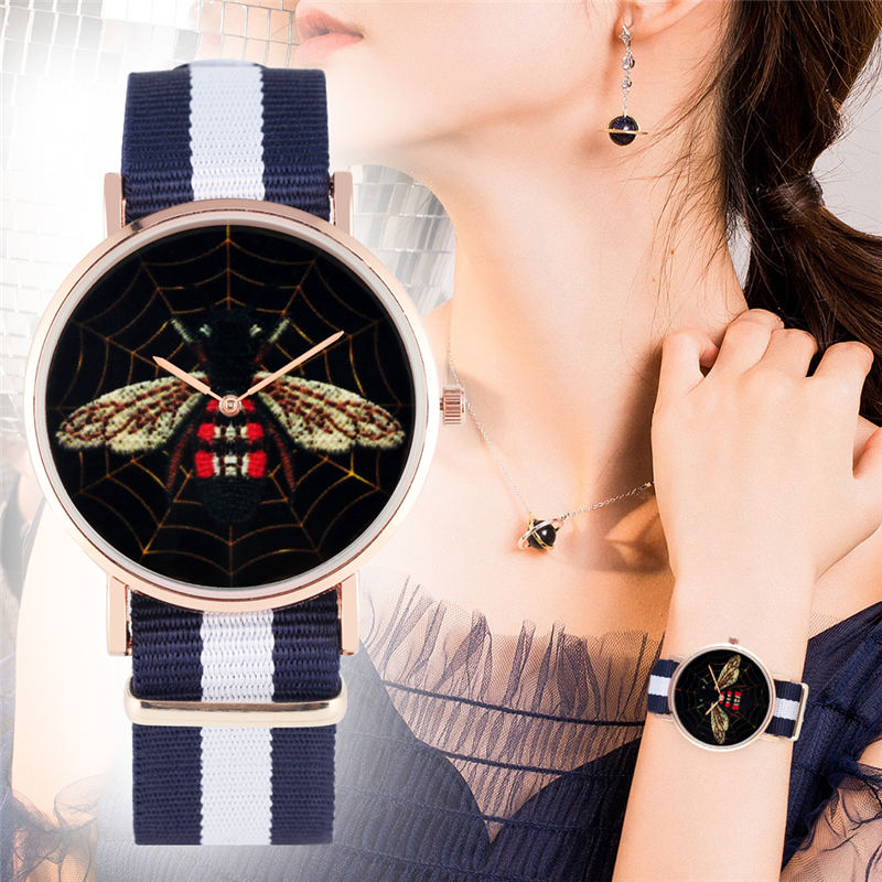 YISUYA Women Quartz Watch Black Bee Pattern Uqiaue Fashion Lady Watches Stripes Nylon Strap Simple No Digital Dial Reloj Mujer