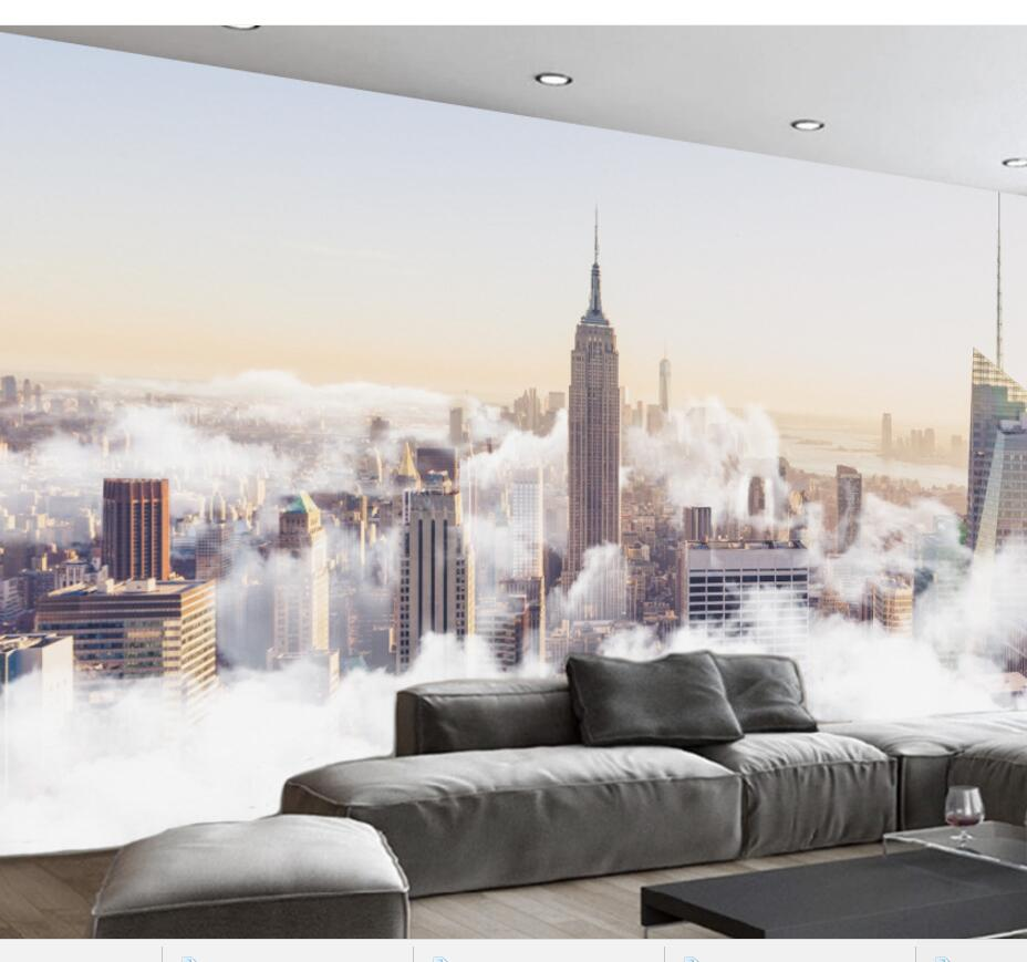 Beibehang Custom Large Fresco 3d Photo Wallpapers Abstract City Sea Of Clouds Scenery Living Room Background Wallpaper 3d Murals