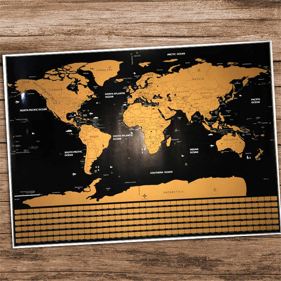 Drop shipping big size Deluxe Edition Scratch World Map With Scratch Off Layer Visual Travel Journal for travel maps 82x59cm