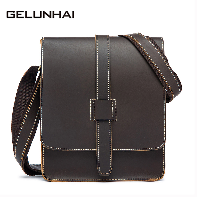 2017 Real Special Offer Polyester Hard Flap Solid Genuine Leather Men Bag Vintage Crazy Horse Small Shoulder Crossbody Handbags