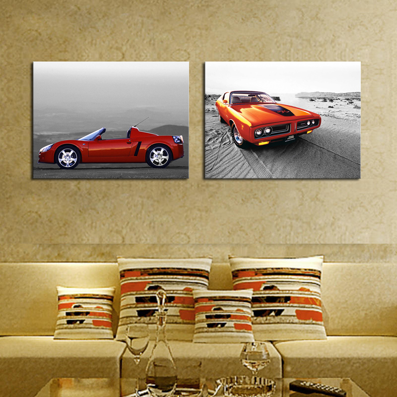 2 sets Modern Home Red cars Wall Decor Canvas Picture Art HD Print ...