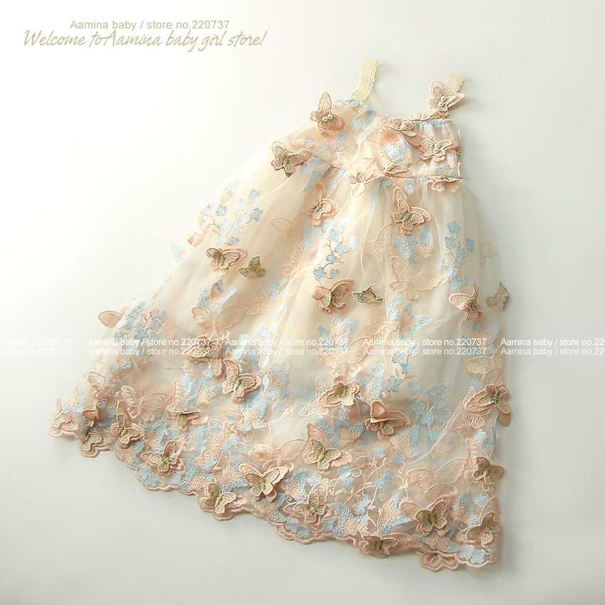Catch Eyes! 3D Butterfly Embroidery Pearls Baby Girls Dress, Toddler Summer Princess Party Wedding Kids dresses for girls 1 10 Y-in Dresses from Mother & Kids    3