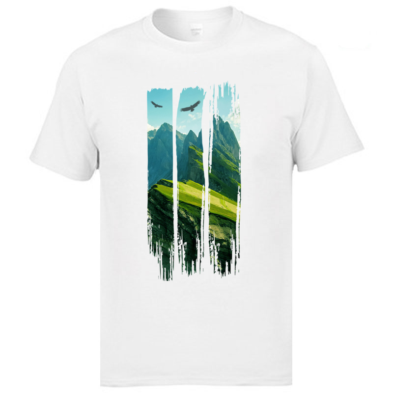 White 3XL Fashion T Shirts Mountain Landscape And Elage View Step-Grandfather Father Tshirts High Quality Leisure Cotton Tees