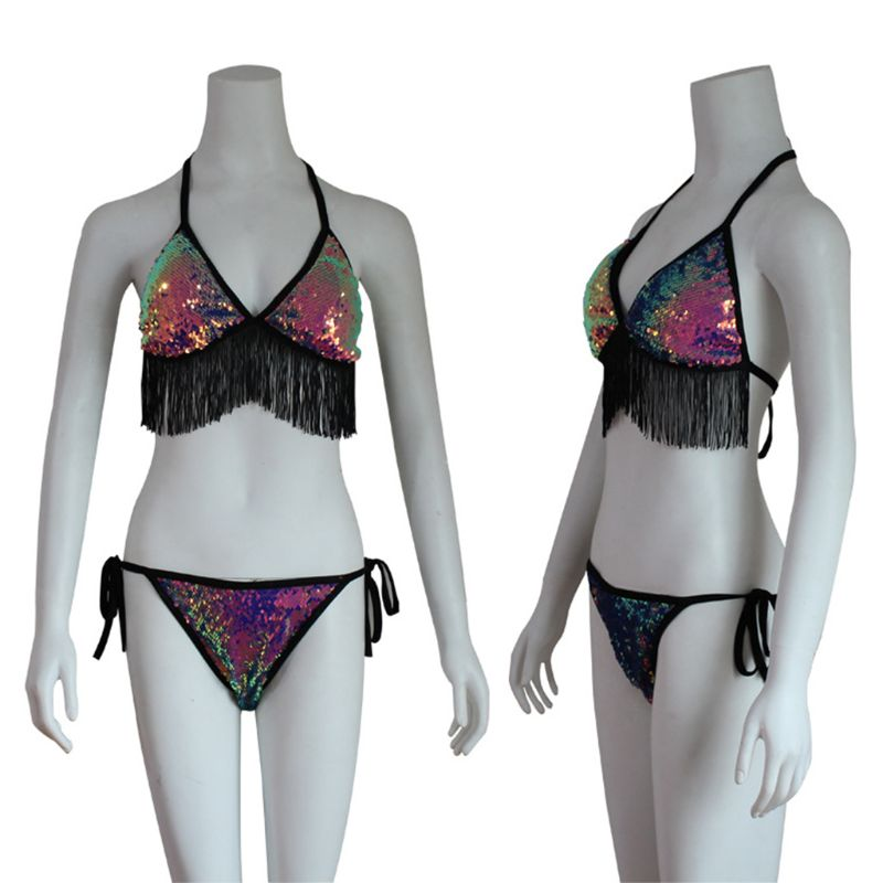 Women Sexy Two Piece Bikini Set Halter Long Tassels Trim Triangle Bra Low Waist Side Tie Thong Glitter Fish Scales Swimsuit in Bikinis Set from Sports Entertainment