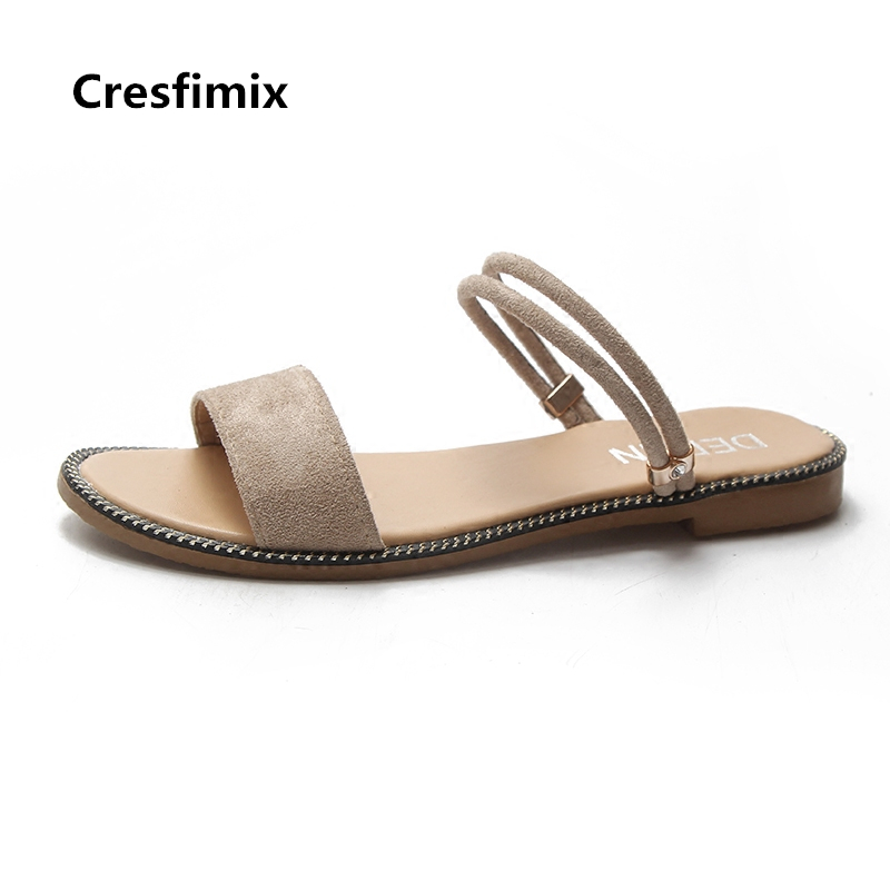 Cresfimix women fashion comfortable slip on flat sandals lady cute outside beige sandals female cool comfy beach sandals b2060 cresfimix sandalias de mujer women fashion black beach flat sandals lady cute solid comfortable plus size sandals with crystal