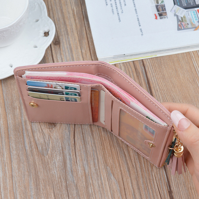 Zipper Purse Patchwork Panelled Wallets Trendy Coin Purse Card Holder Leather. 1