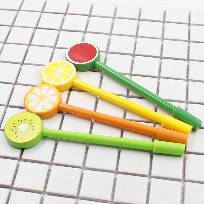 Cheap 1pcs/lot Cute Fruit Lollipops Gel Pen Watermelon Lemon 0.5mm Black Ink Pen Stationery For Students Office School Supplies