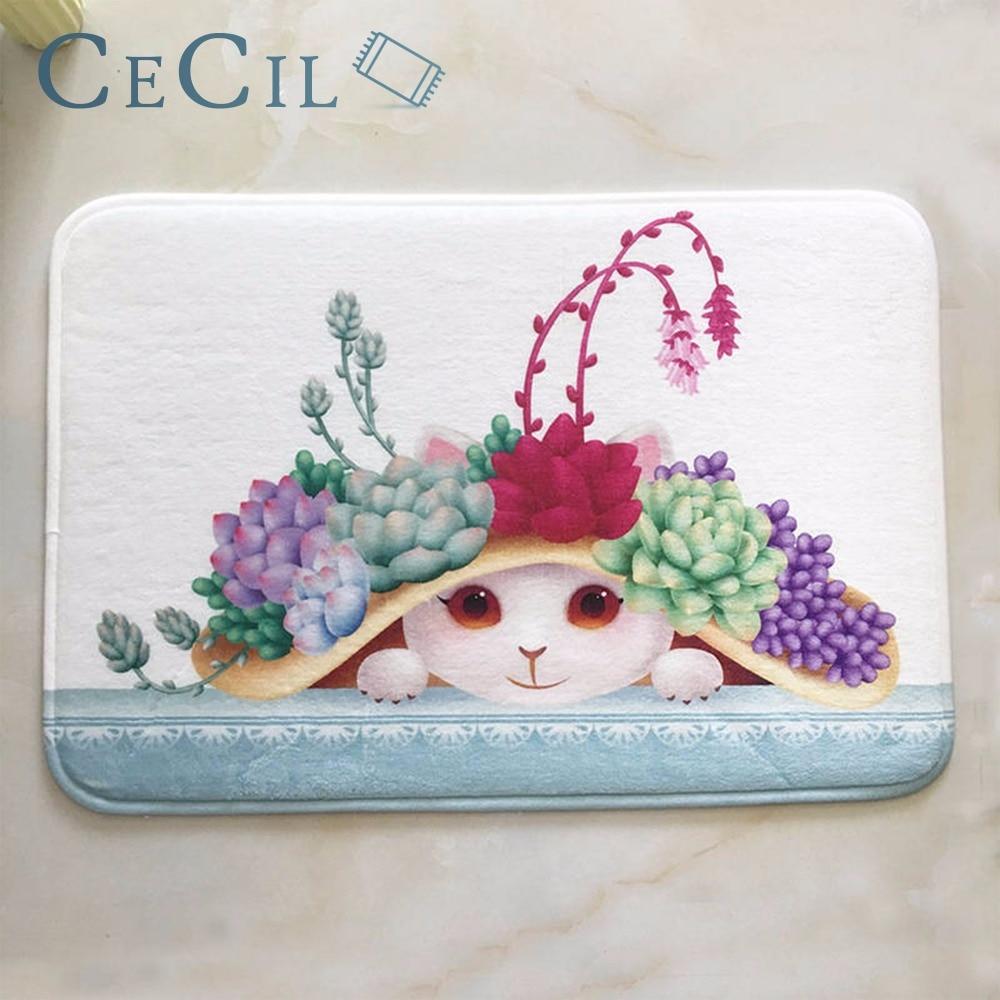 Cecil Creative Cartoon Cat Monkey Footprints Bath Mat Toilet Carpet Suede Non Slip Shower Bathroom Rugs Floor Kitchen