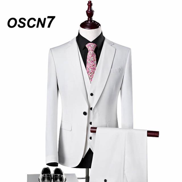 OSCN7 White Men Dress Suits for Wedding Plus Size Slim Fit Leisure Suit Men Fashion 2018 Costume Mariage Homme S-4XL