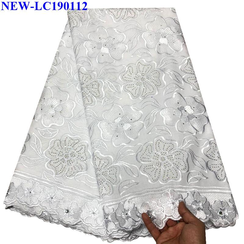 White Swiss Lace Fabric African Cotton Voile Lace Nigerian Swiss Voile Lace with stones In Switzerland