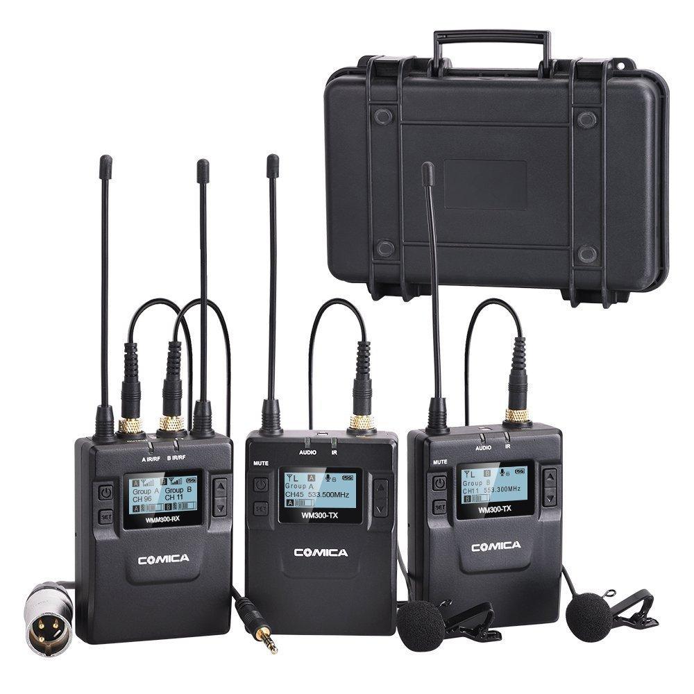 Comica CVM-WM300 (A) 96-canale In Lega di Zinco UHF Sistema Senza Fili Ricaricabile Dual Lavalier Microfono per Canon Nikon Sony