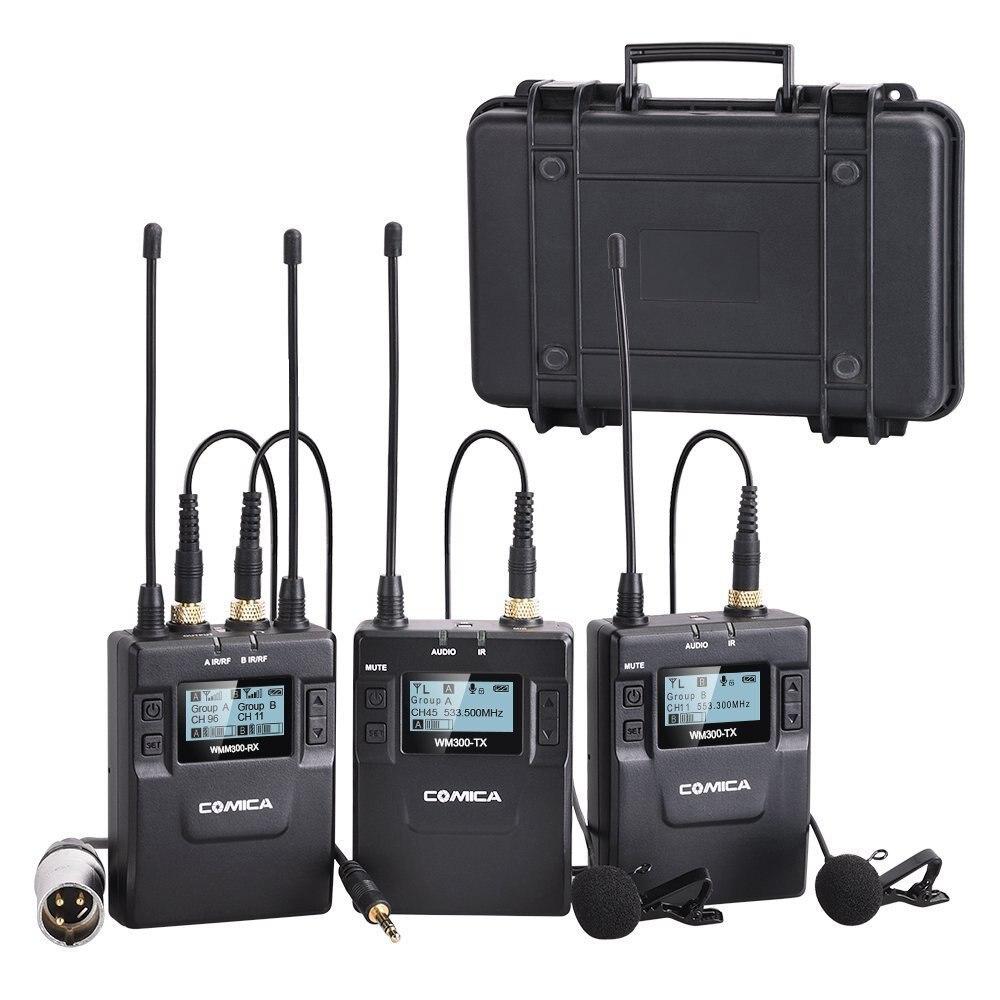 Comica CVM-WM300 (Un) 96-canal Alliage de Zinc UHF Système Rechargeable Sans Fil Double Cravate Microphone pour Canon Nikon Sony