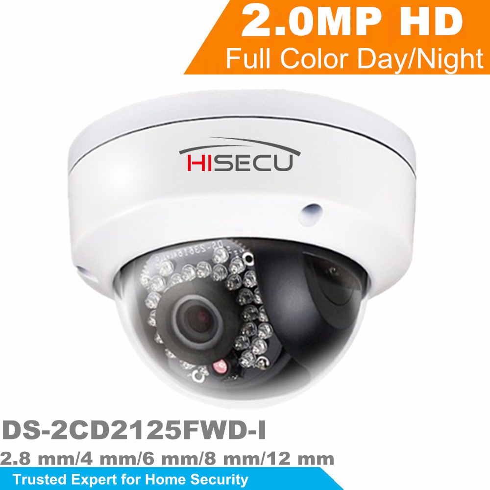 HiK New Released H.265 IP Camera DS-2CD2125FWD-I 2MP Ultra-Low Light Network Dome Camera IP 67 On-Board  Storage Support Upgrade hikvision new released 8mp h 265 network dome camera ds 2cd2185fwd i 3d dnr bullet camera 3840 2160 resolution ik 10 ip 67