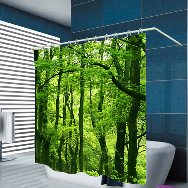 Urijk Green 3D Digital Printing Tropical Rainforest Hook Waterproof Shower  Curtain For Bathroom Home Decoration Polyester
