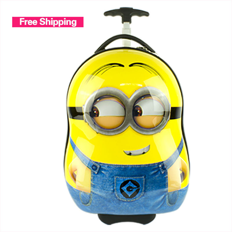 2015 New Fashion Cartoon Trolley Bags minions boys girls wheeled bag School bags wheels abs trolley school