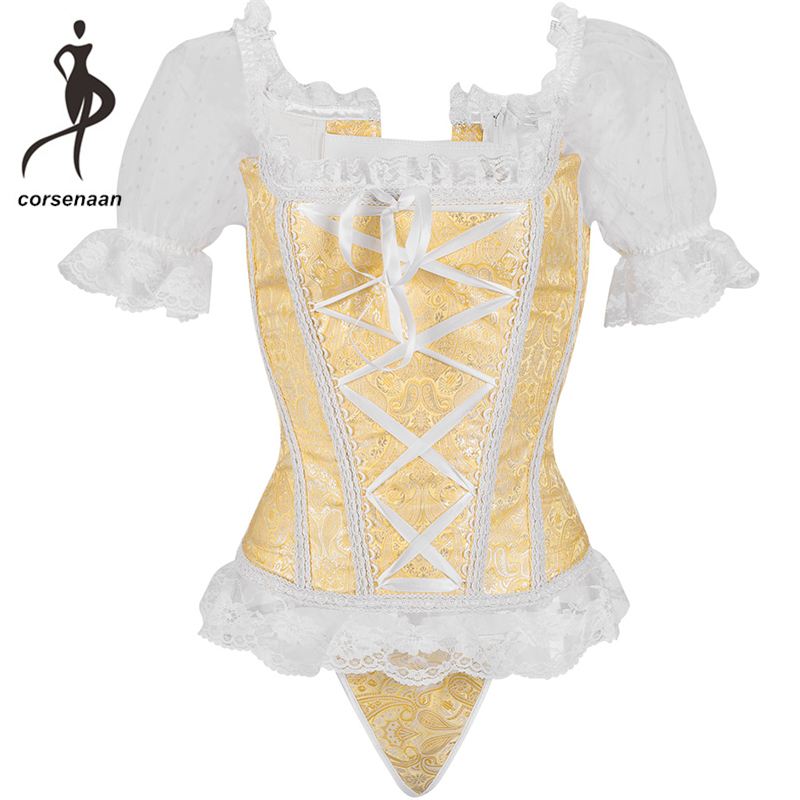 Women's Steampunk Clothing Vintage Corselets Floral Lace Short Sleeves Boned Bustier Corset Top With G String 943#