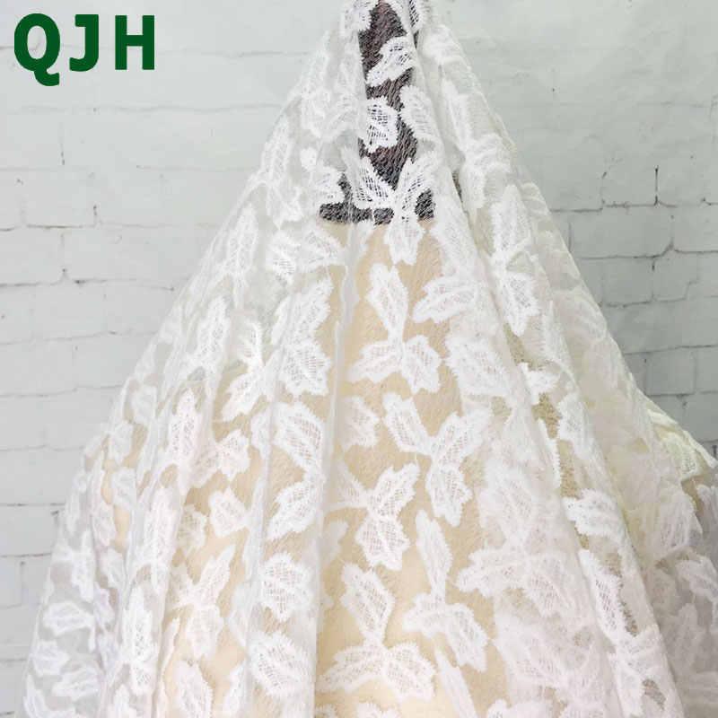 QJH marka Yeni Zarif Yaprakları elmas Net Nakış Afrika Dantel Kumaş kadın Giyim Fransız Vual Dantel Kumaş