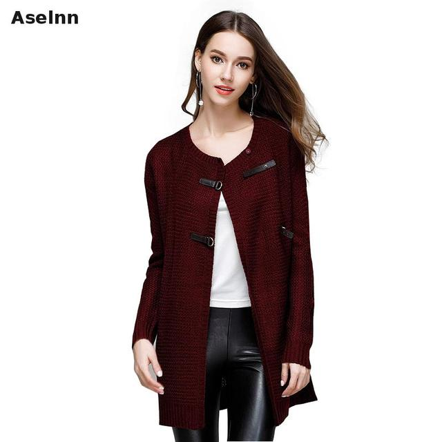 Aselnn 2018 Autumn Winter Women Fashion Sweater Long Sleeve O,neck Knitted  Single Breasted Cardigan