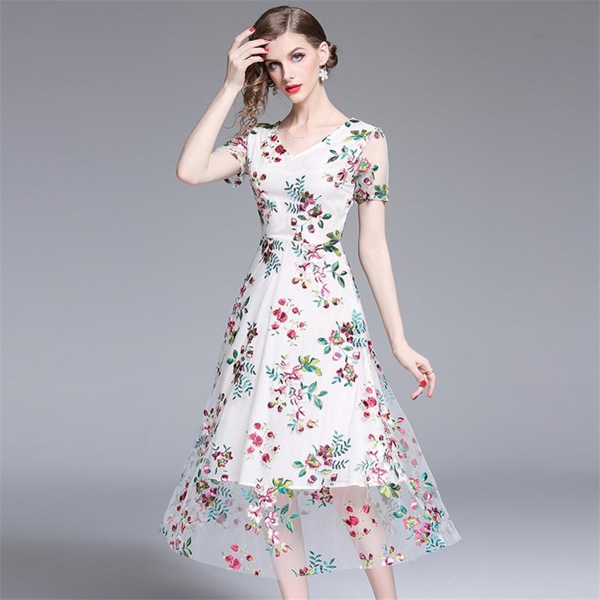2019 Robe d'été femmes à manches courtes Sexy pure Floral broderie maille Robe dames Vintage robes mi-mollet Robe Femme - 5